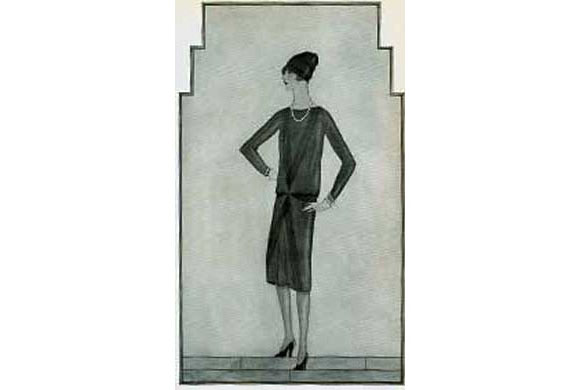 Boceto del primer vestido negro diseñado por Chanel. Publicado en el número de octubre de Vogue USA en 1926.