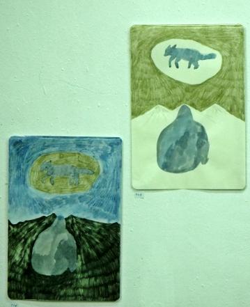 Dos obras complementarias de Sakura Fantasma. Foto: Lidia Pérez.
